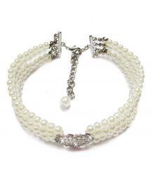 Collier de perles 4 rangs avec strass blanc - Chien et chat