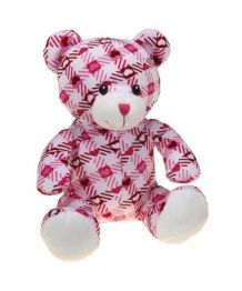 Plush teddy bear pink plaid with sound effects - 25 cm