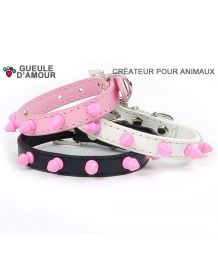 Studded Leather Collar Pink