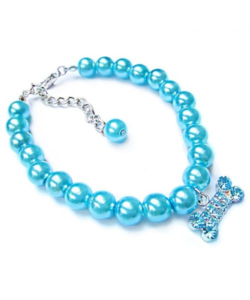 Pearl necklace for pets : blue, pink, purple, with rhinestone, for mini dogs, puppies, small dogs, cats, kittens...