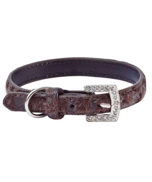 Collier cuir strass pour petit chien et chat marron cuir fourrure mode boutique design animaux