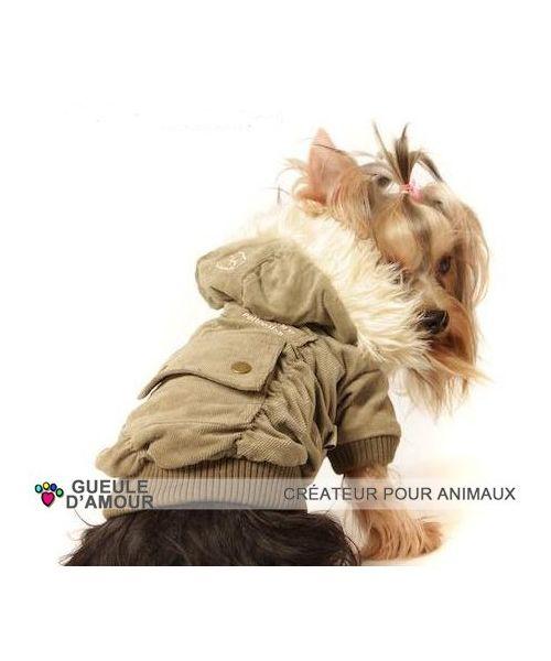 Manteau brun velour pour chien original avec poche sur le dos et capuche amovible chez Gueule d'amour magasin en ligne france