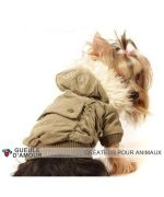 Brown coat velour dog original with pocket on the back and removable hood with Mouth love online store france