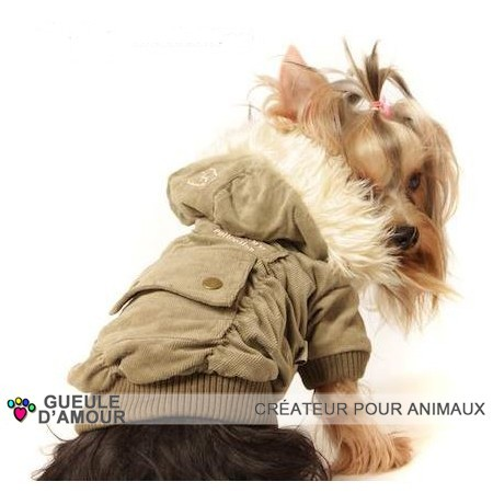Original brown velor coat for dog with pocket on the back and removable hood at Gueule d'Amour online store france