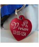 Médaille en forme de coeur pour graver le prenom du chien ou numero de téléphone, livraison offerte montpellier, marseille, metz