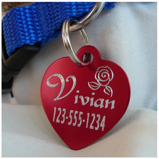 Medal in the shape of a heart to burn the firstname of the dog or telephone number, free delivery montpellier, marseille, metz