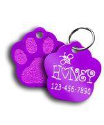 Médaille en forme de patte à graver couleur violet livraison gratuite france, canada, polynesie, guyane, dom tom, suisse...