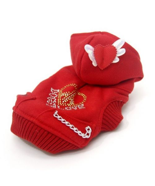 Pull pour chien marin rouge avec coeur et capuche chaud pour l'hiver spécial petite et grande taille sur notre boutique animaux