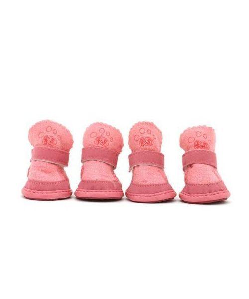 Lot of 4 shoes Cozy pink - Dog & cat warm and comfortable for snow, rain...Paris, Lyon, Marseille, Nantes...