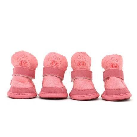 Lot de 4 chaussures Cozy rose - Chien et chat chaude et confortable pour la neige, la pluie...Paris, Lyon, Marseille, Nantes...