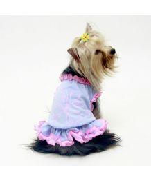 Tee-shirt pour chiens et chats bleu et rose motif papillon
