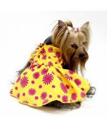 Robe d'été pour chiens jaune à fleurs