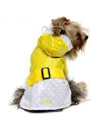 Imperméable jaune et blanc à capuche pour chiens