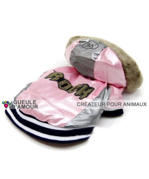 coat has hood animal dog girl female original pink pearly warm waterproof