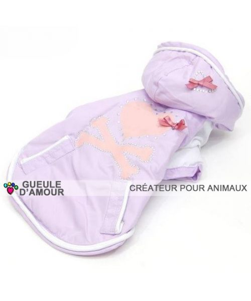 Waterproof clothing for dog pink purple chic class with rhinestones very cute comfortable rain wind snow