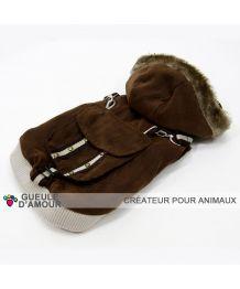 Coat waterproof suede-brown - Dog