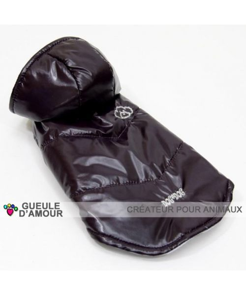 Waxed black dog chic raincoat with a removable hood for big and small dog mouth d love