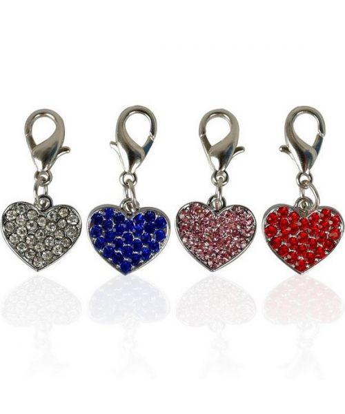 Cadeau pendentif coeur strass pour chien original chic, élégant livraison Paris, Le Mans, Montpellier, Tours, Marseille
