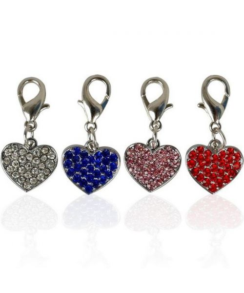 Original chic rhinestone heart pendant gift for dog, elegant delivery Paris, Le Mans, Montpellier, Tours, Marseille