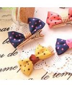 barrette blue polka dot dog girl child gift holiday christmas birthday ceremony not expensive mouth d love