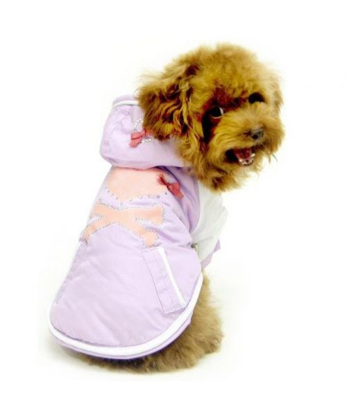 Coat for dog pink purple with rhinestone for dog female small mini size size average size large size chi-chi