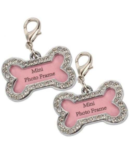 Pendant bone crystal rhinestone for picture or address for dog and cat ideal for customize your gifts !