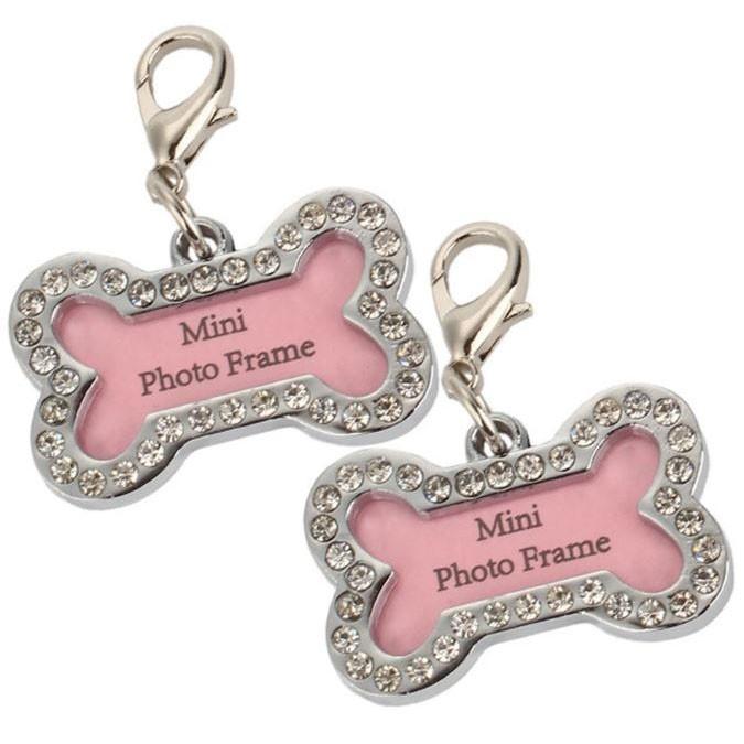 Pendentif os strass crystal pour photo ou adresse pour chien et chat idéal pour personnaliser vos cadeaux !