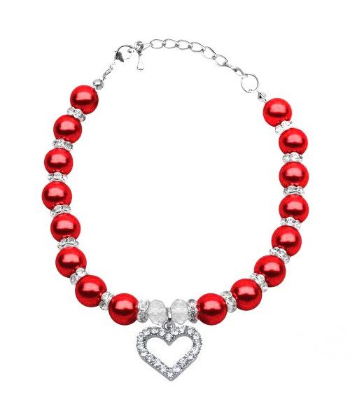 Necklace evening for dog with pearl and rhinestone red heart gift cheap animal mouth d love