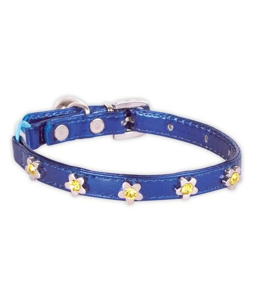 Small blue cat dog collar with rhinestone flower cheap mouth of love