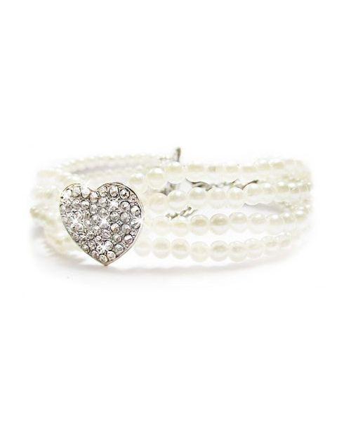 Collier de perles 4 rangs avec strass blanc pour chien et chat livraison magasin paris, lyon, orléans, strasbourg, nancy