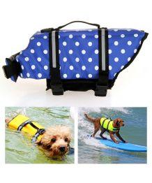 Gilet de sauvetage pour chiens à pois bleu marine