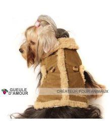 Manteau doublé marron pour chiens Sherlock
