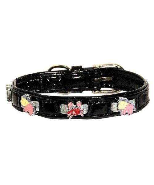 Collier pour chien vernis noir avec motifs rigolos super fun et chic taille 35 cm et 40 cm de longueur pas cher mode paris
