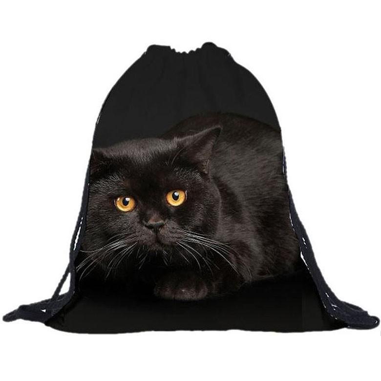 Sac à dos noir motif chat effet 3D pour femmes et enfants sac voyage sport randonnée
