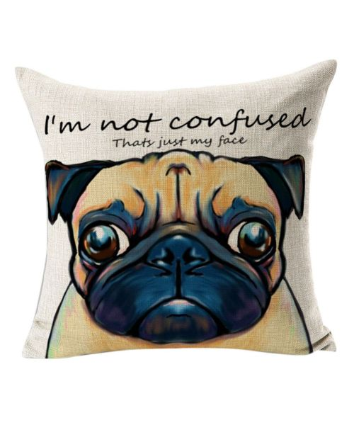 beige pug cushion for home