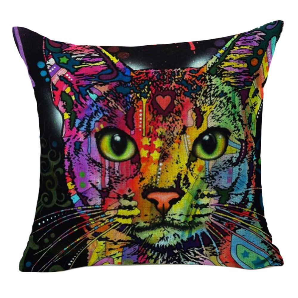 coussin chat multicouleur design pour interieur