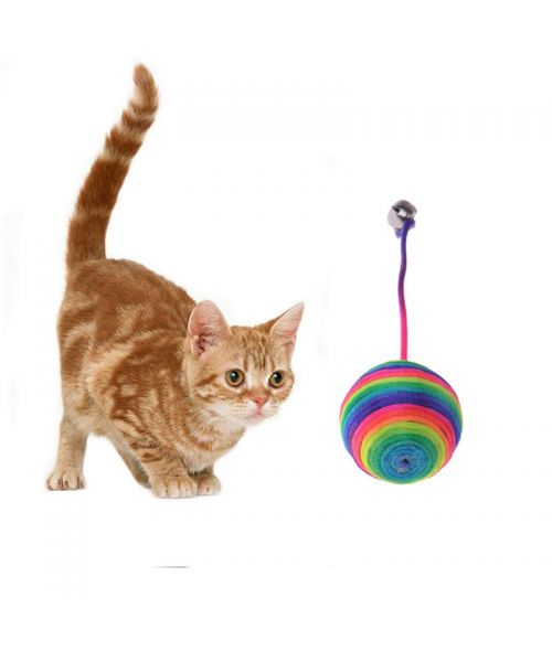 Balle en sisal pour chats multicouleur avec petite clochette