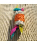 cylinder made of sisal with feathers cat toy kitten birthday gift