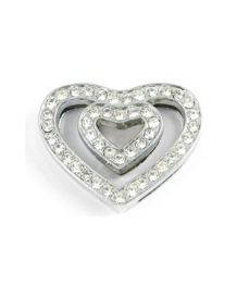 Big heart double rhinestone for necklace customizable