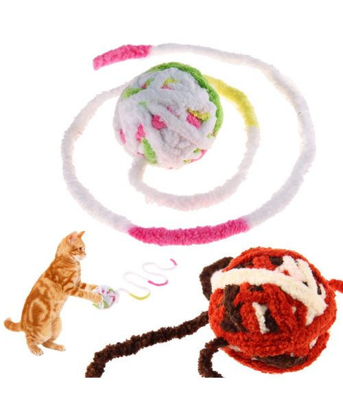 toy small cat ball with string wool for cat