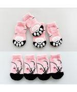 chaussettes anti-glissement pour chiens et chats rose grande race