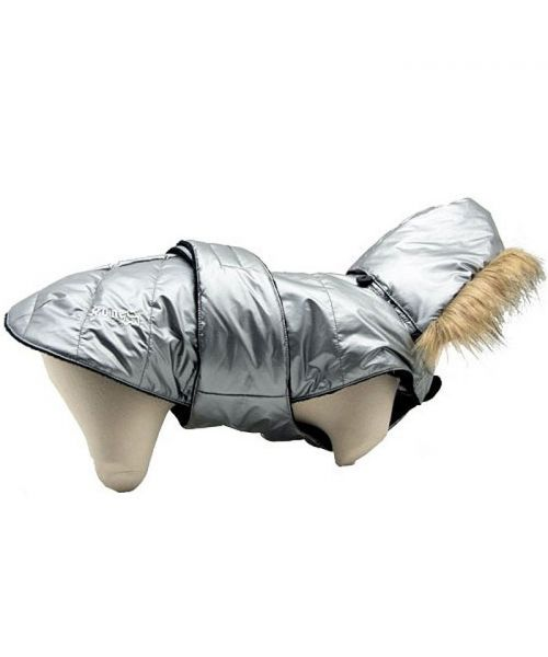 Down jacket silver for dogs warm inner fleece