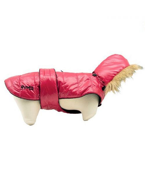 Red puffer jacket for dogs with warm fleece interior