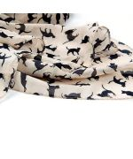 scarf beige with small cat for girl gift