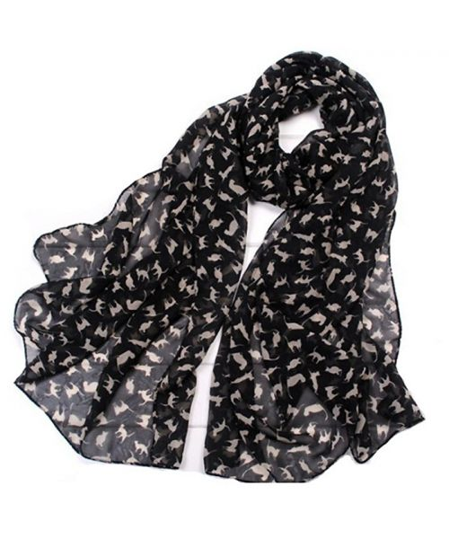 black scarf for women chiffon motifs small cute cats