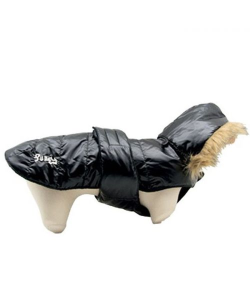 Down jacket black for dogs warm inner fleece