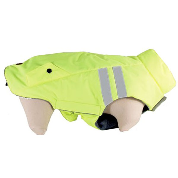coat reflechissant for yellow dog with stripes flashy neon