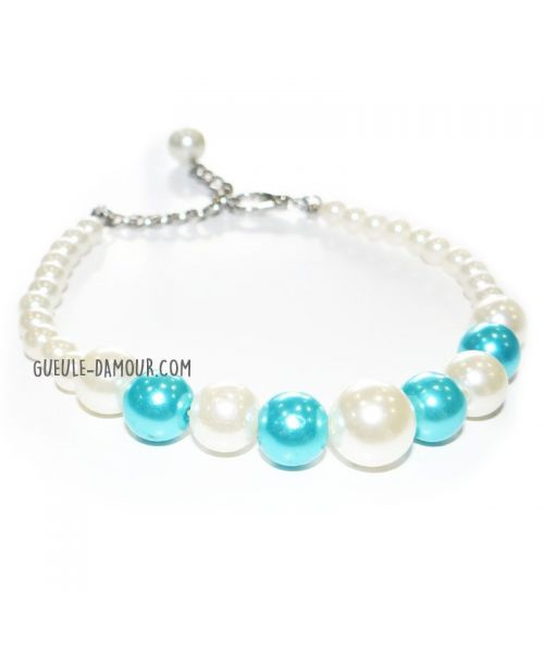 dog collar in white pearls and blue delivery Marseille, Paris, Cannes, Nice, Montpellier, Nantes, Strasbourg, Nancy