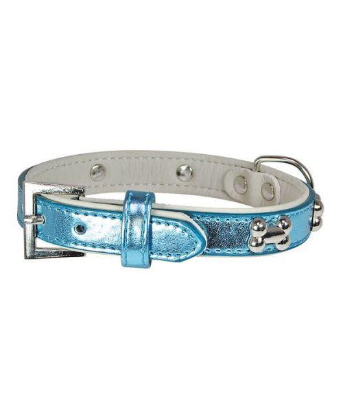 collier pour chien bleu nacré petits os argentés