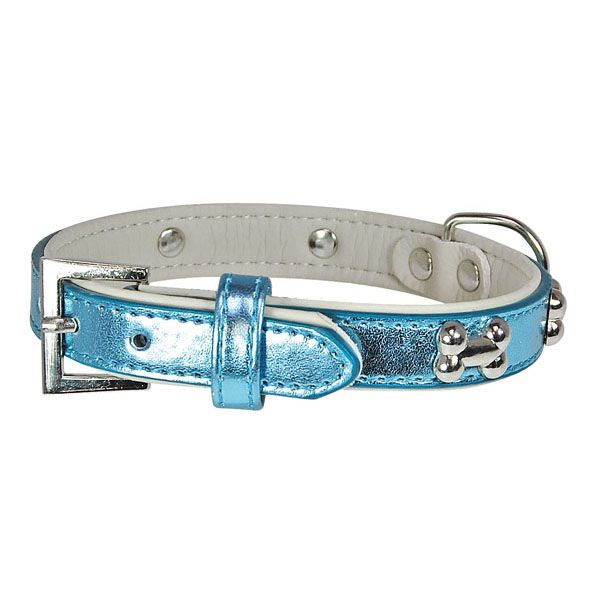 dog collar blue mother-of-pearl small bones silver